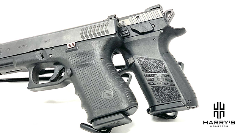 Side by side gun comparisons of a CZ P07 and Glock 19