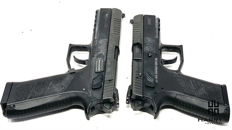 Side by side photo comparison of the CZ P07 and CZ P09