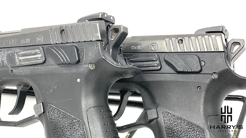 Side by side shot of the CZ P07 vs the CZ P09