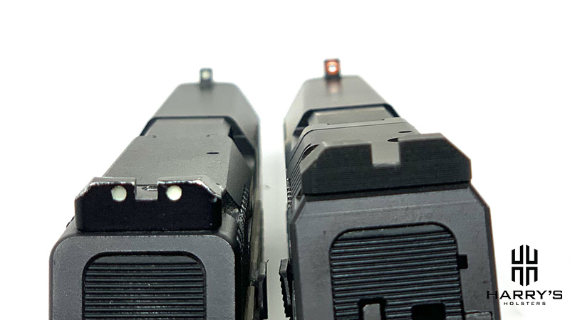 Photo of the CZ P10f and CZ P10c with sight comparison