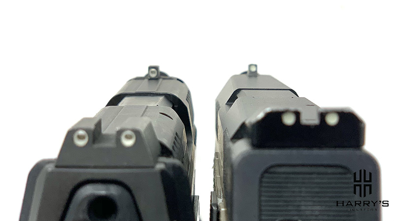 An image of CZ P10c and HK VP9SK sights side-by-side
