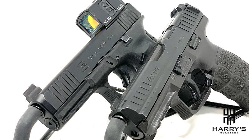 An image of HK VP9 vs Glock 17 side-by-side.