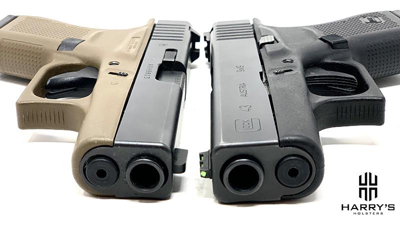 Glock 42 vs Glock 43 slides front